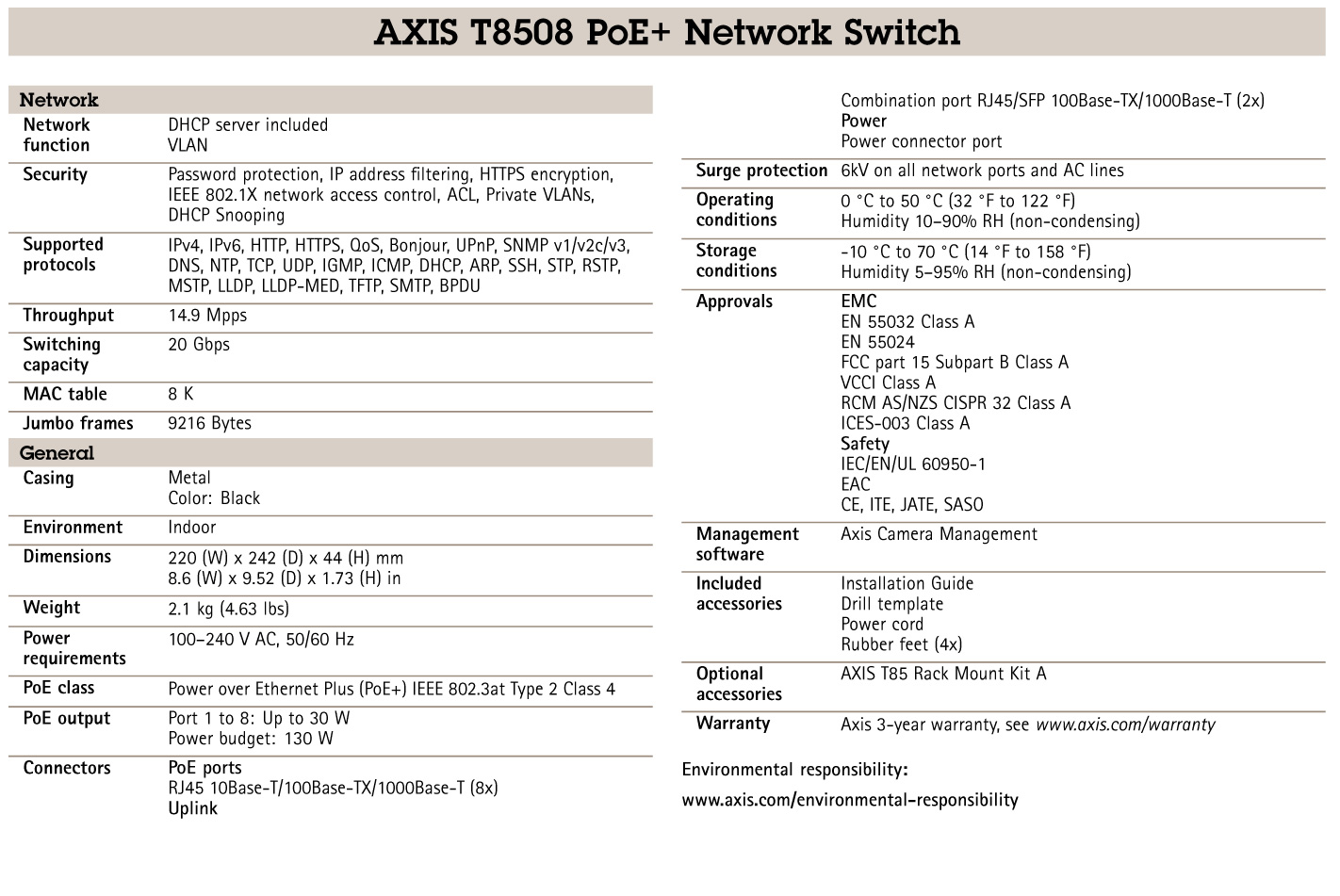 T8508 POE+ Network Switch